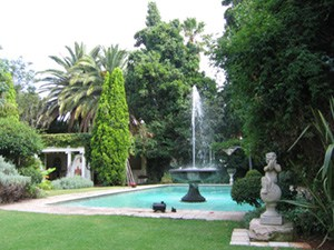 Swimming Pool with Fountain and Gazebo